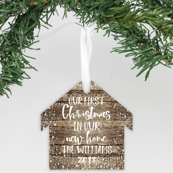 "Personalized Wooden Ornament - ""Our First Home"""