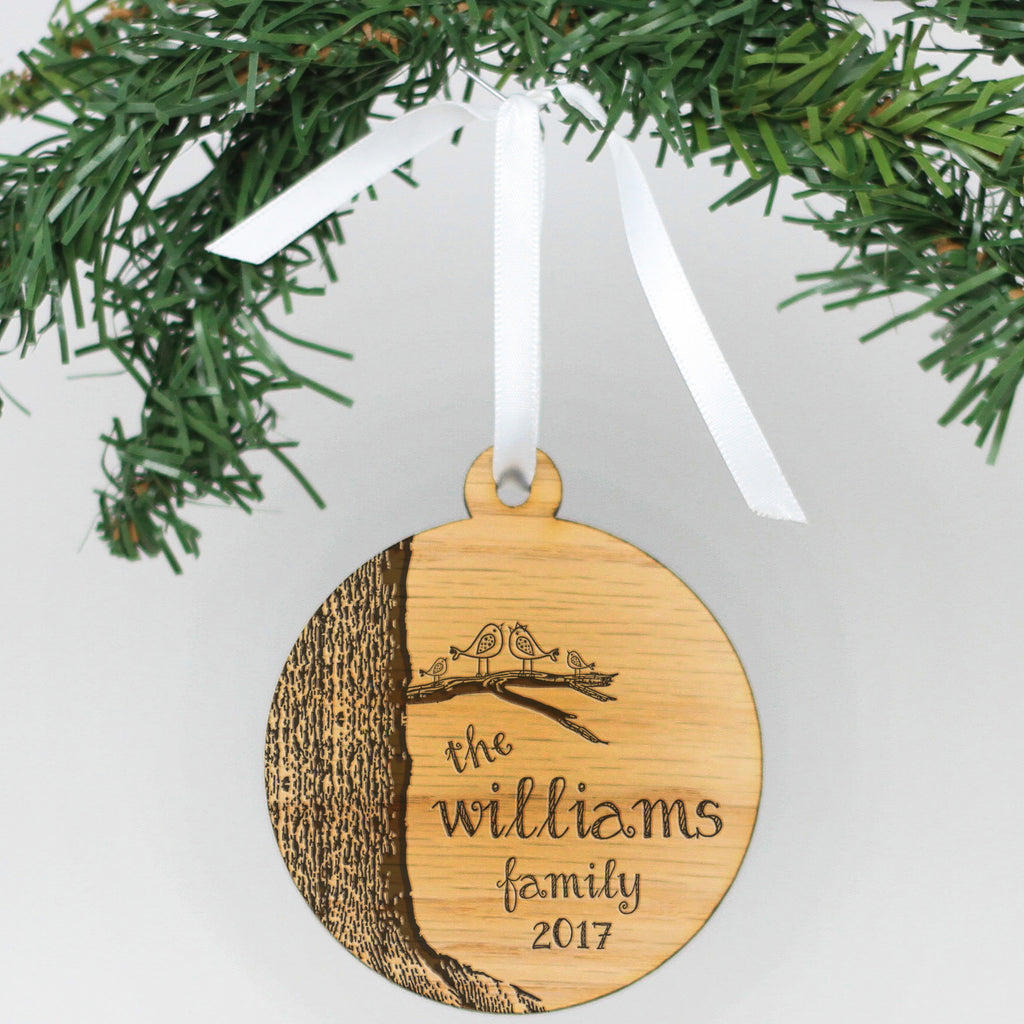 "Personalized Engraved Wood Ornament - ""Tree With Birds"""