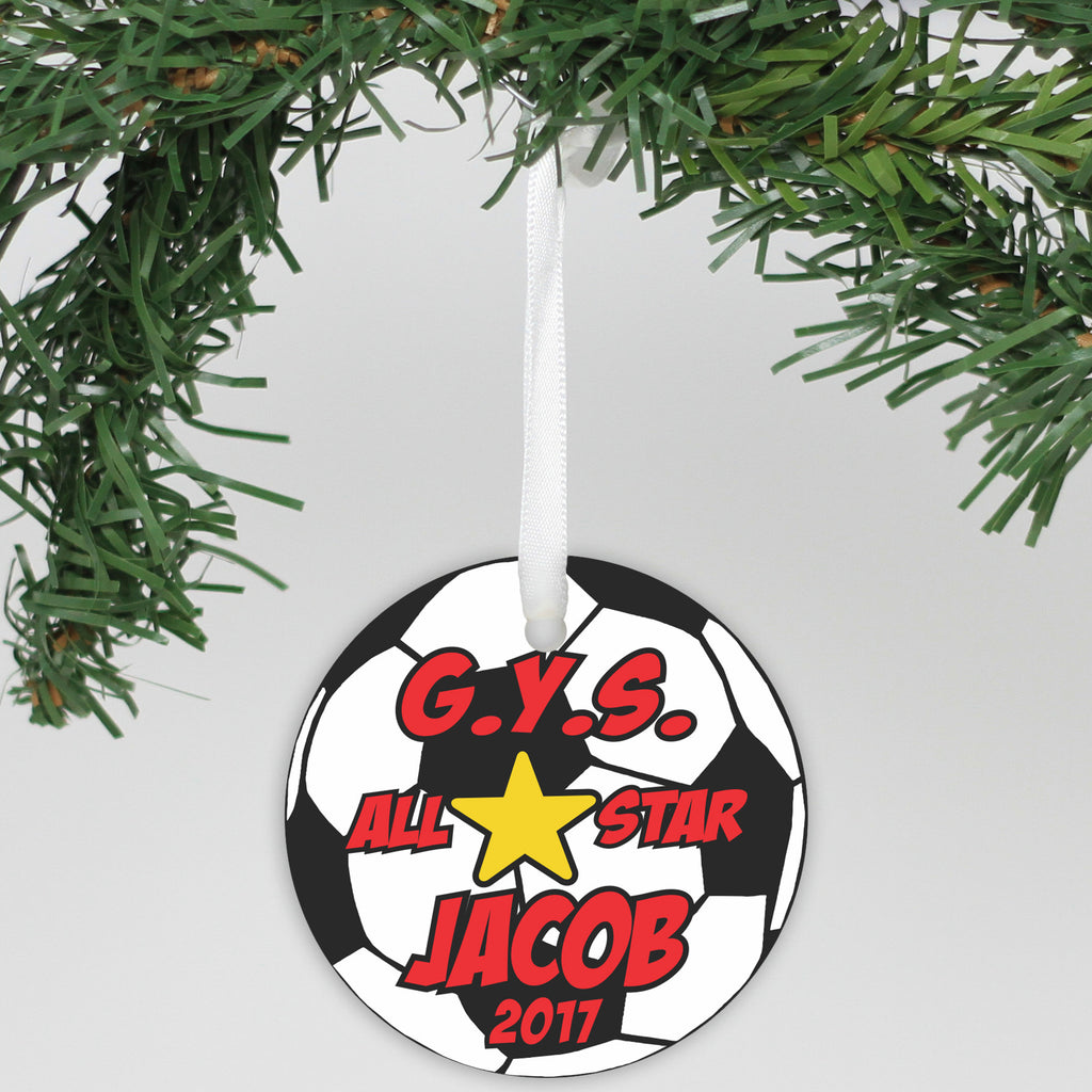 "Personalized Aluminum Ornament - ""Soccer"""