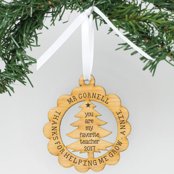 "Personalized Engraved Wood Ornament - ""Helping Me Grow"""
