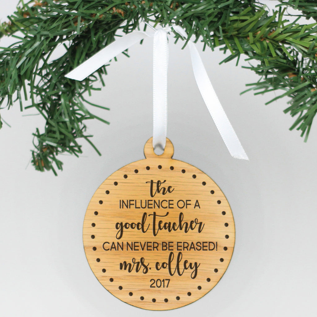 "Personalized Engraved Wood Ornament - ""Good Teacher"""