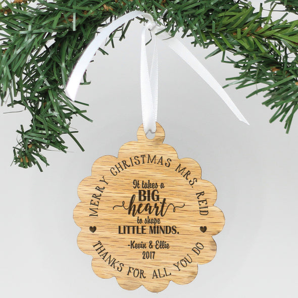 "Personalized Engraved Wood Ornament - ""It Takes A Big Heart"""