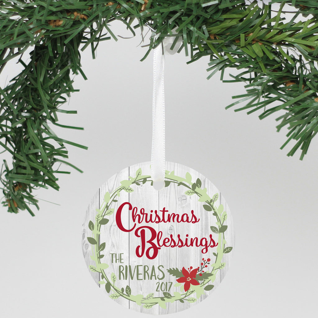 "Personalized Aluminum Ornament - ""Christmas Blessings"""