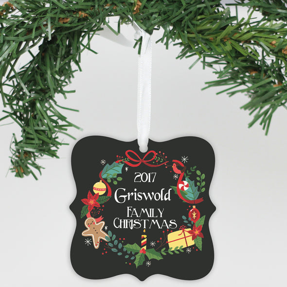 "Personalized Aluminum Ornament - ""Family Christmas"""