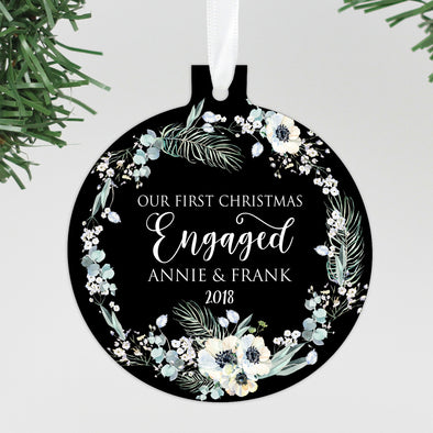 "Our First Christmas Engaged Ornament, Custom Ornament, Personalized Christmas Ornament ""Annie & Frank"""