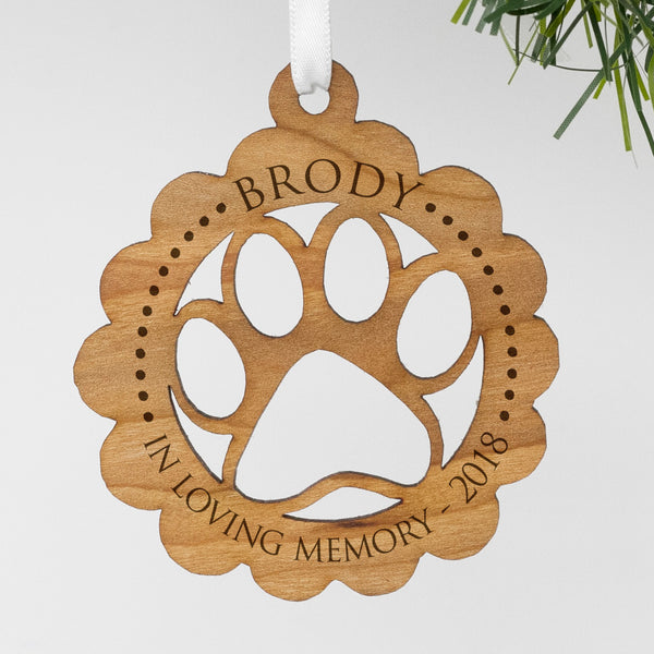 "Custom Wood Pet Memorial Ornament, Personalized Engraved In Loving Memeory Wood Ornament, Custom Christmas Ornament ""Brody"""