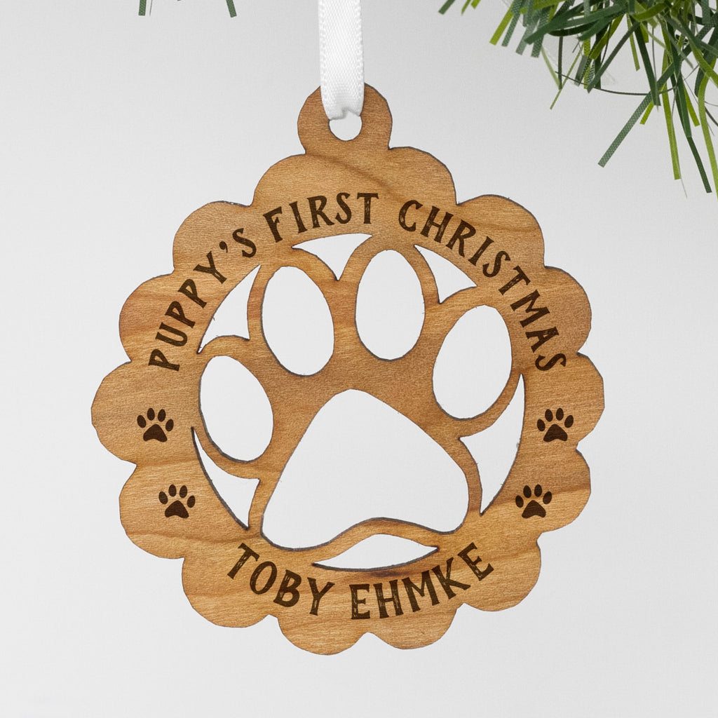 "Custom Wood Pet Ornament, Personalized Engraved Pet's First Christmas Wood Ornament, Custom Christmas Ornament ""Toby Ehmke"""