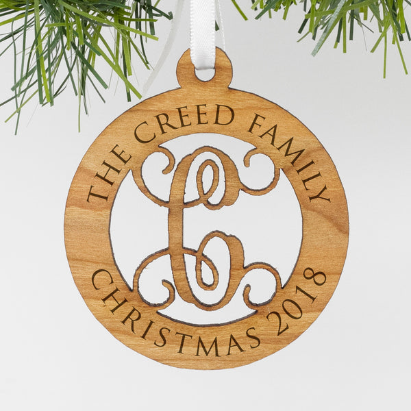 "Custom Wood Family Monogram Ornament, Personalized Engraved Family Wood Ornament, Custom Christmas Ornament ""The Creed Family"""