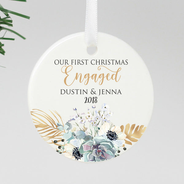 "Our First Christmas Engaged Ornament, Custom Ornament, Personalized Christmas Ornament ""Dustin & Jenna"""
