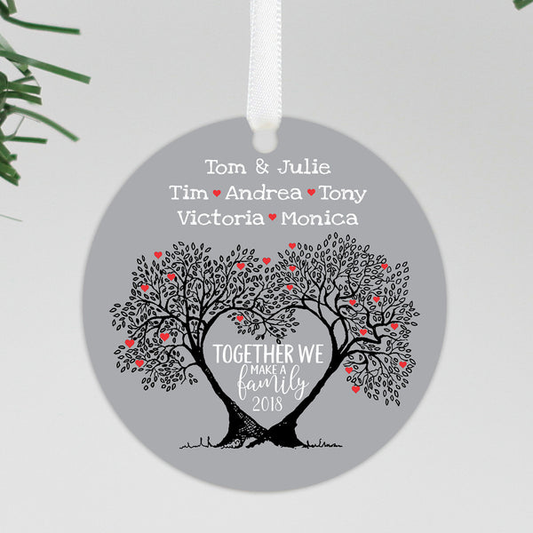 "Custom Family Tree Ornament, Personalized Gray Family Ornament, Custom Christmas Ornament ""Tom & Julie"""