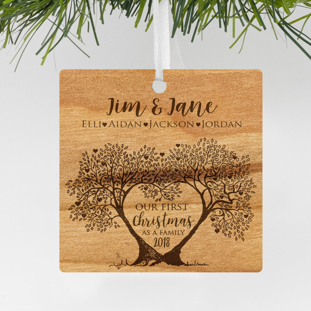 "Custom Wood Family Tree Engraved Ornament, Personalized Engraved Family Christmas Wood Ornament, Custom Christmas Ornament ""Jim & Jane"""