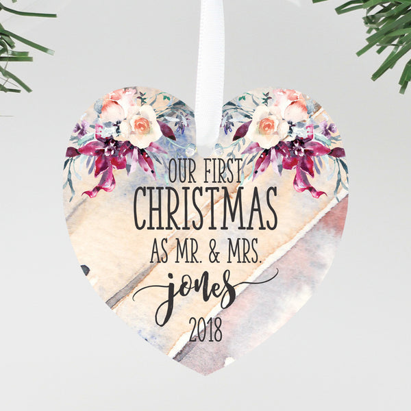 "Our First Christmas as Mr & Mrs Ornament, Custom Ornament, Personalized Christmas Ornament ""Mr & Mrs Jones"""