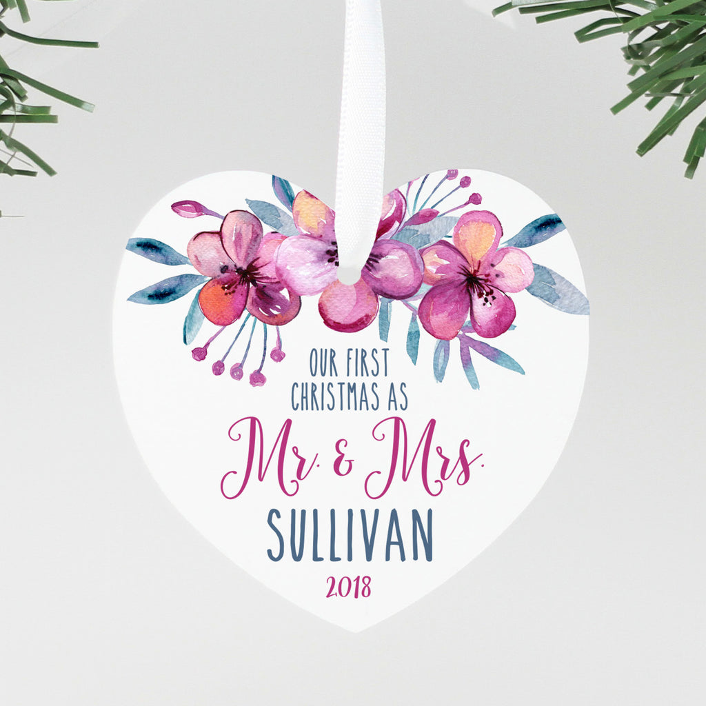 "Our First Christmas as Mr & Mrs Heart Ornament, Custom Ornament, Personalized Christmas Ornament ""Mr & Mrs Sullivan"""