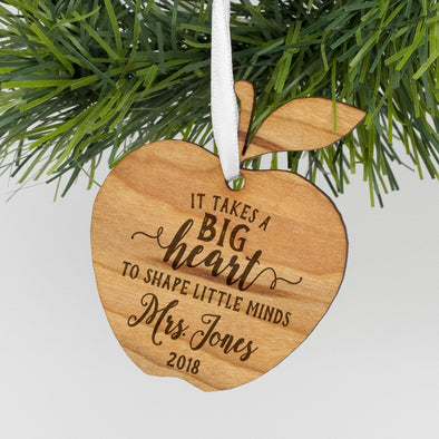 "Custom Teacher Apple Engraved Ornament, Personalized Engraved Teacher Christmas Wood Ornament, Custom Christmas Ornament ""Mrs Jones"""