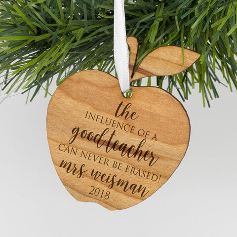 "Custom Teacher Apple Engraved Ornament, Personalized Engraved Teacher Christmas Wood Ornament, Custom Christmas Ornament ""Mrs Weisman"""