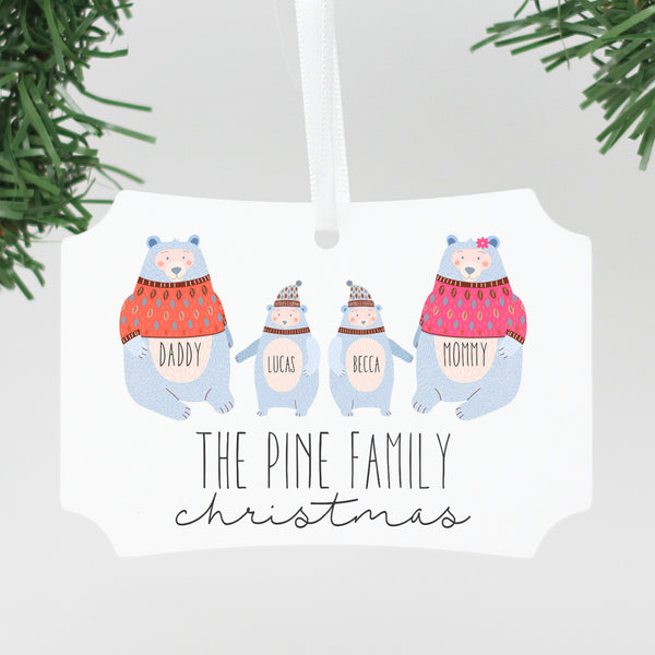 "Custom Polar Bear Family Ornament, Personalized Family Ornament, Custom Christmas Ornament ""The Pine Family"""