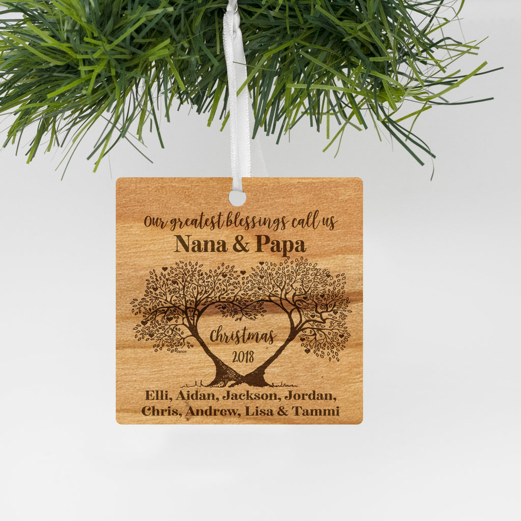 Personalized Our Greatest Blessings call us Nana & Papa Ornament