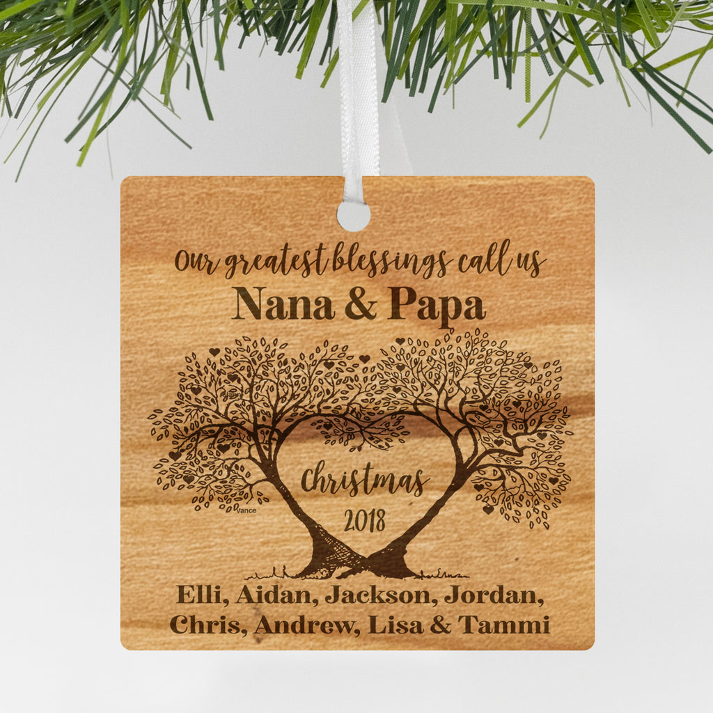 "Custom Engraved Grandparent's Ornament, Personalized Engraved Grandparents Christmas Wood Ornament, Custom Christmas Ornament ""Nana & Papa"""