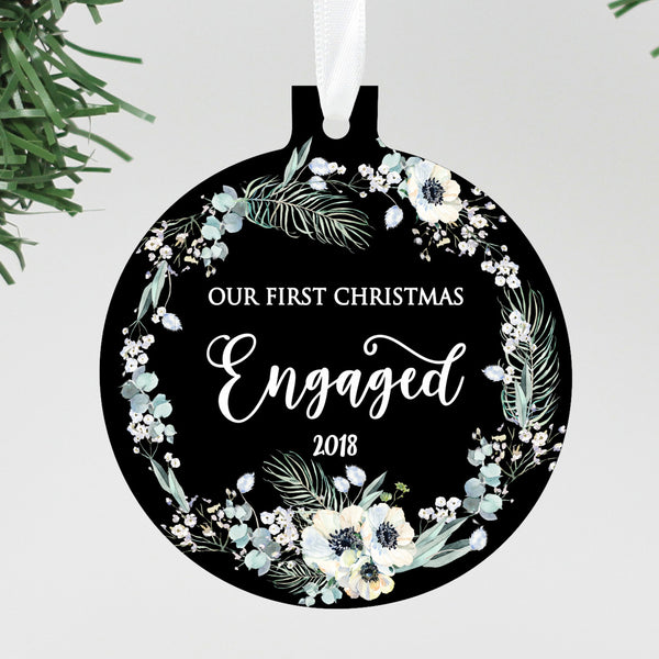 "Our First Christmas Engaged Black Floral Ornament, Custom Ornament, Personalized Christmas Ornament ""Engaged"""