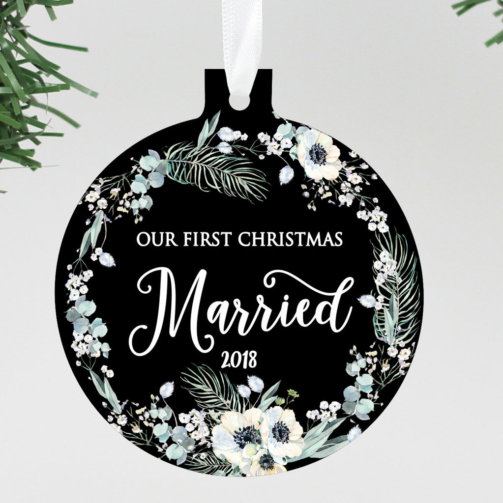 "Our First Christmas Married Black Floral Ornament, Custom Ornament, Personalized Christmas Ornament ""Married"""