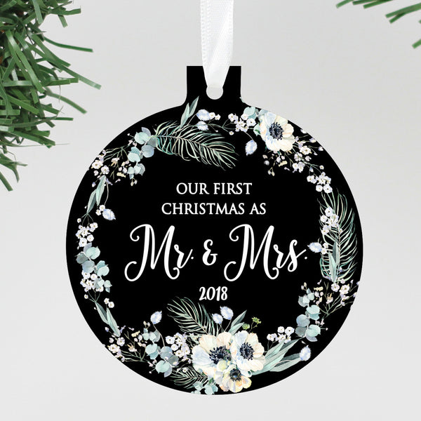 "Our First Christmas as Mr & Mrs. Black Floral Ornament, Custom Ornament, Personalized Christmas Ornament ""Mr & Mrs"""