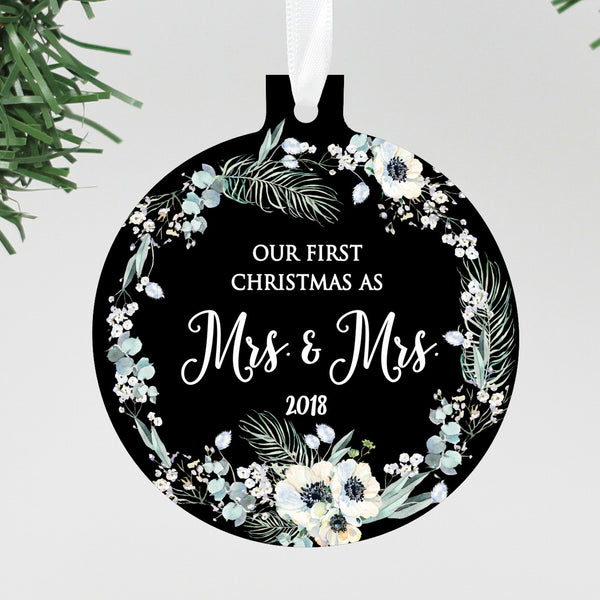 "Our First Christmas as Mrs & Mrs. Black Floral Ornament, Custom Ornament, Personalized Christmas Ornament ""Mrs & Mrs"""