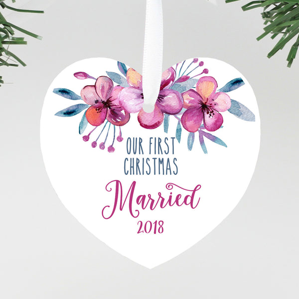 "Our First Christmas Married Heart Floral Ornament, Custom Ornament, Personalized Christmas Ornament ""Married"""