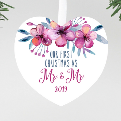 Mr. & Mr. Christmas Ornament, Heart Floral Mr. and Mr. Gay Christmas ornament