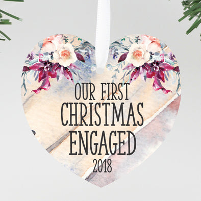 First Christmas Engaged Heart Ornament