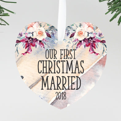First Christmas Married Heart Ornament