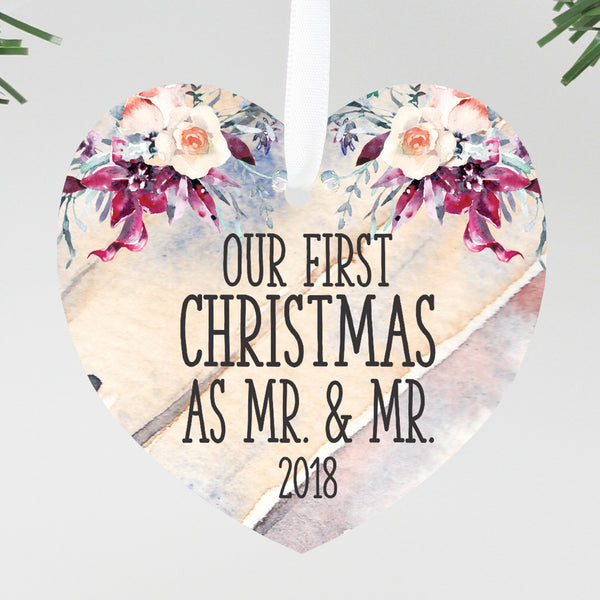 "Our First Christmas as Mr & Mr Round Floral Ornament, Custom Ornament, Personalized Christmas Ornament ""Mr & Mr"""