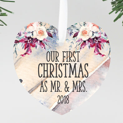 First Christmas Married Ornament, Personalized First Christmas