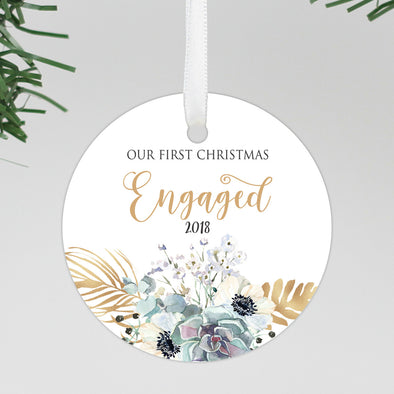 First Christmas Engaged Ornament, Engagement Reveal Ornament