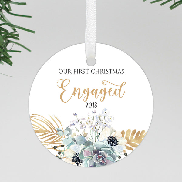 "Our First Christmas Engaged Round Floral Ornament, Custom Ornament, Personalized Christmas Ornament ""Engaged"""