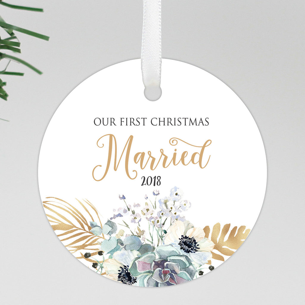 "Our First Christmas Married Round Floral Ornament, Custom Ornament, Personalized Christmas Ornament ""Married"""