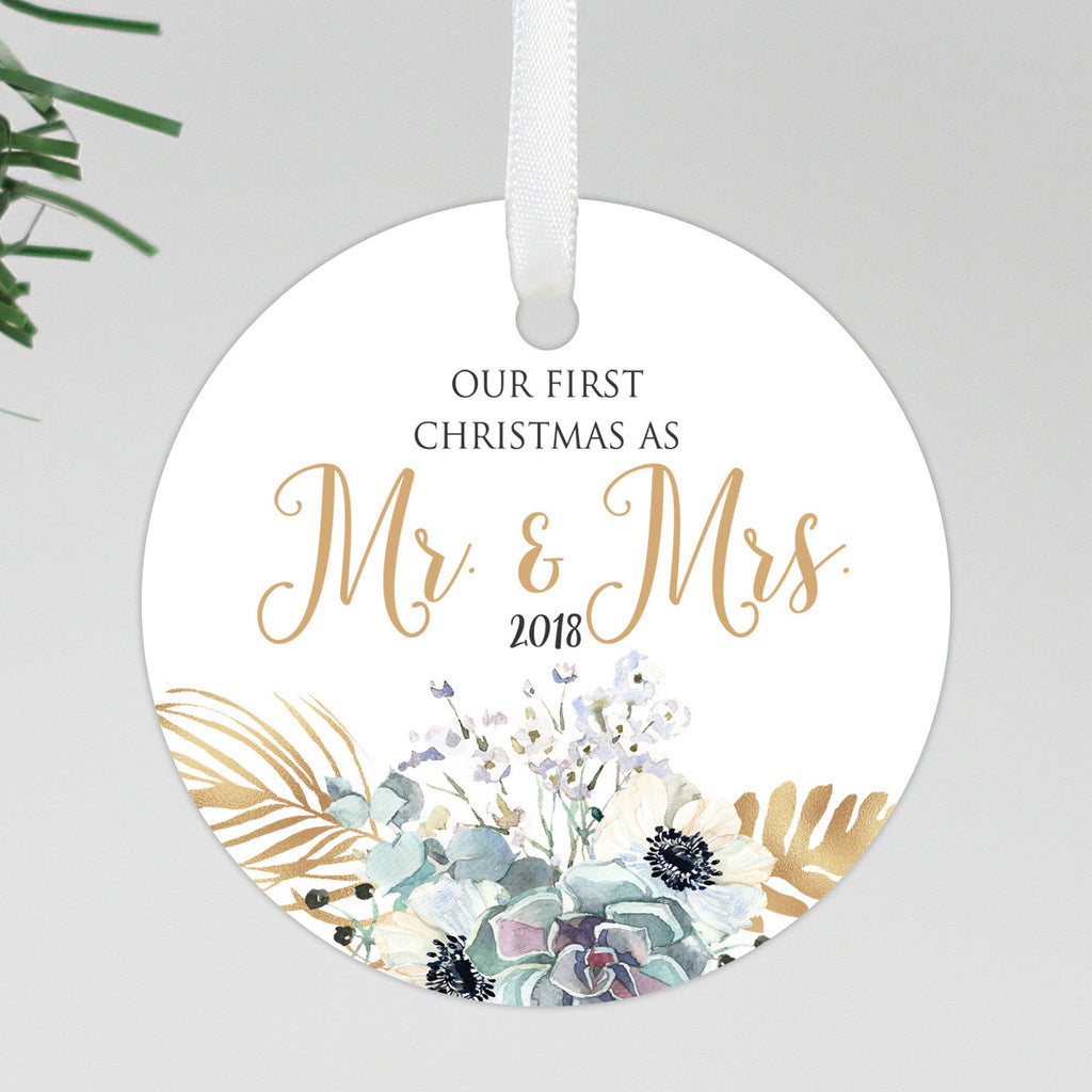 "Our First Christmas As Mr & Mrs Round Floral Ornament, Custom Ornament, Personalized Christmas Ornament ""Mr & Mrs"""