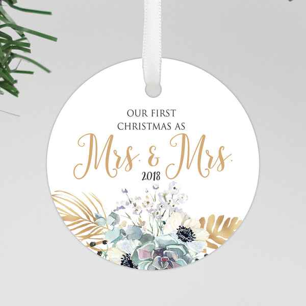 "Our First Christmas As Mrs & Mrs Round Floral Ornament, Custom Ornament, Personalized Christmas Ornament ""Mrs & Mrs"""