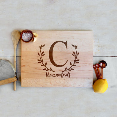 "Custom Maple Cutting Board ""The Crawfords"""