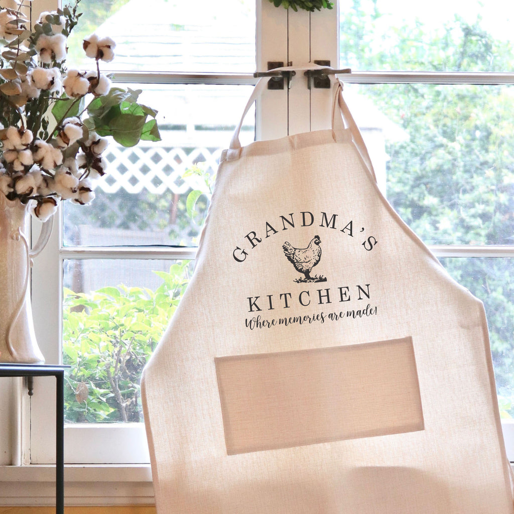 "Grandma's Kitchen Apron, Custom Apron, Personalized Apron for Grandma ""Grandma's Kitchen with Chicken"""