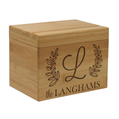 Custom Engraved Recipe Box, Personalized Recipe Box, mother's day gift