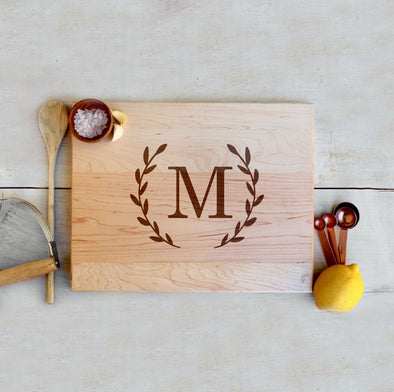 Custom Maple Cutting Board, Large Initial