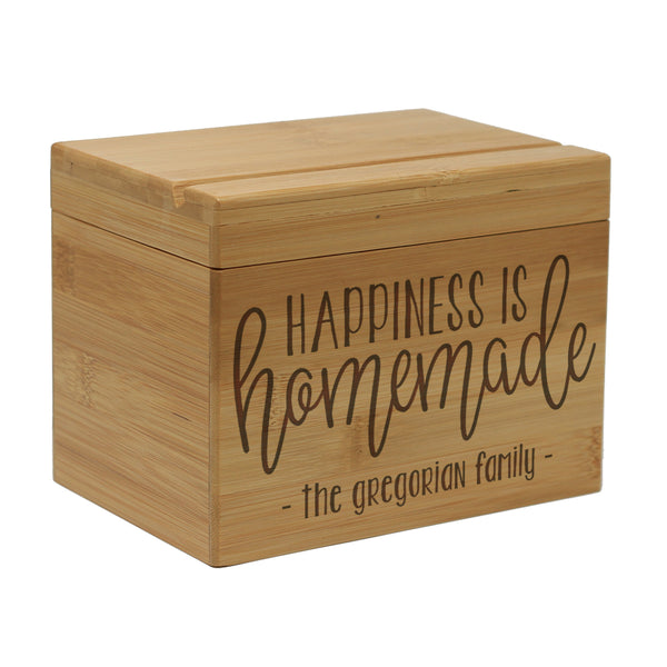 "Custom Engraved Recipe Box, Personalized Recipe Box, ""The Gregorian Family"""