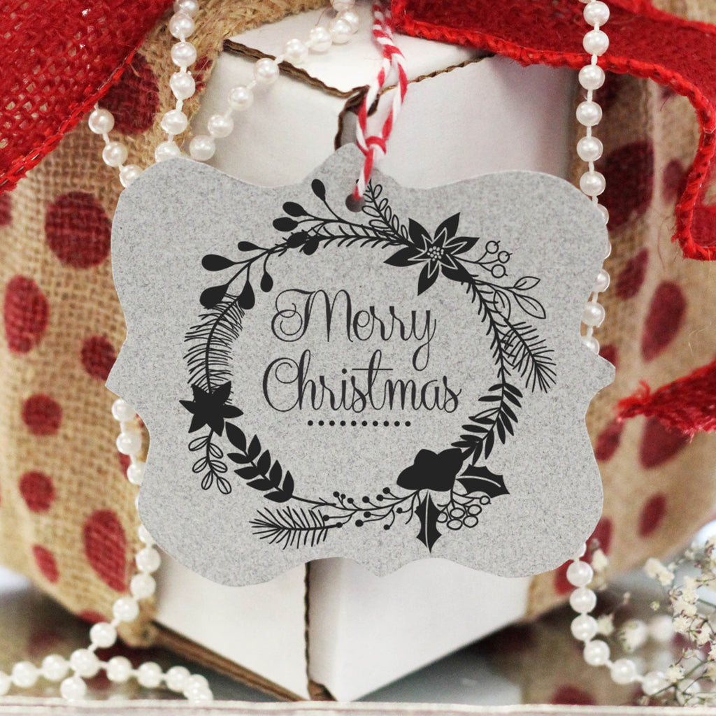 "Gift Tag Stamp ""Merry Christmas"" Wreath"