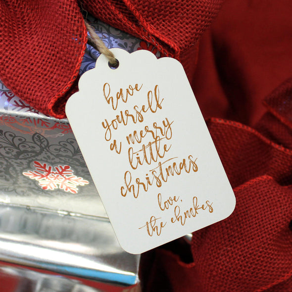 "Personalized Engraved Christmas Gift Tags ""Merry Little Christmas - Ehmke's"" (Set of 5)"