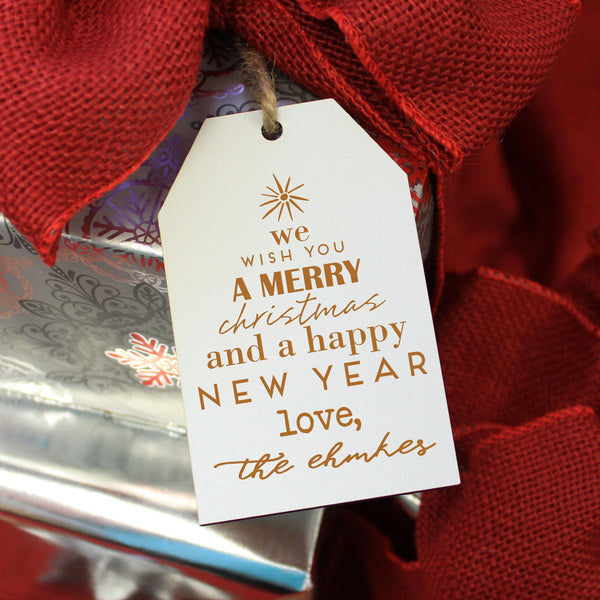"Personalized Engraved Christmas Gift Tags ""Merry Christmas Happy New Year - Ehmke's"" (Set of 5)"