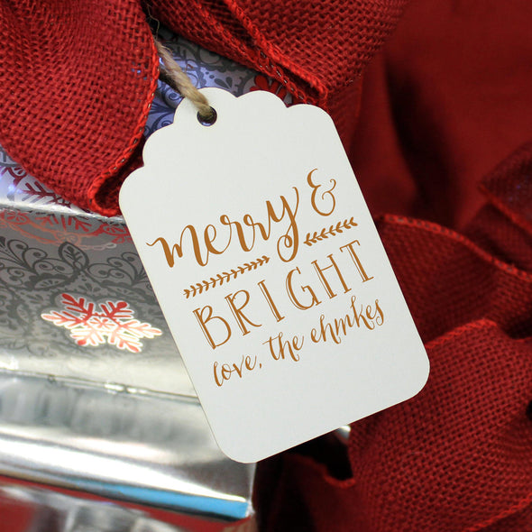 "Personalized Engraved Christmas Gift Tags ""Merry & Bright - Ehmke's"" (Set of 5)"