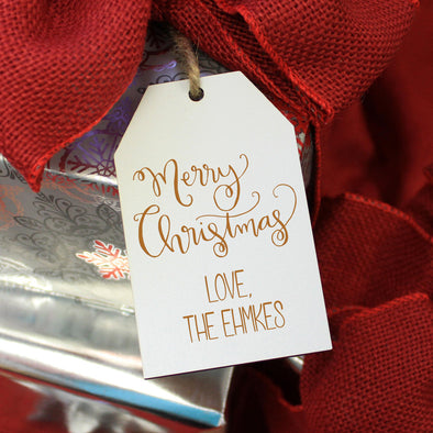 "Personalized Engraved Christmas Gift Tags ""Merry Christmas - Ehmke's"" (Set of 5)"