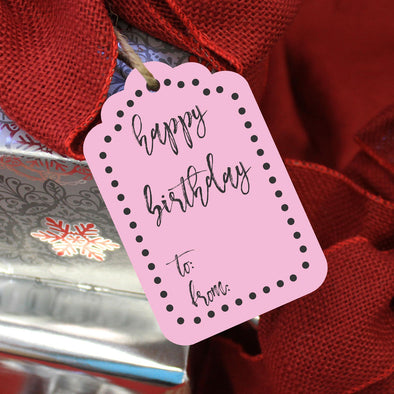 "Reusable Birthday Gift Tags ""Happy Birthday Pink"" (Set of 5)"