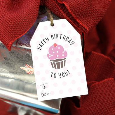 "Reusable Birthday Gift Tags ""Happy Birthday Cupcake"" (Set of 5)"
