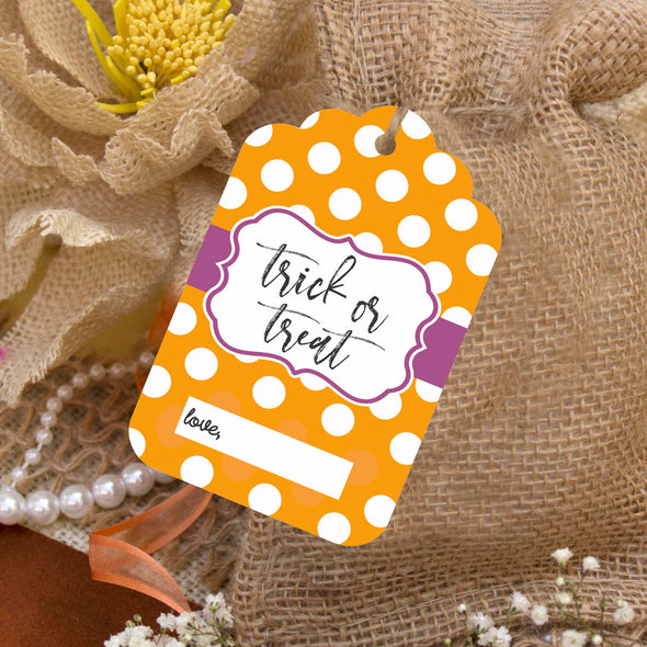 "Reusable Halloween Goodie Bag Tags ""Trick or Treat"" (Set of 5)"